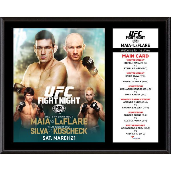 "Fanatics Authentic UFC Fight Night Demian Maia vs. Ryan LaFlare 12"" x 15"" Sublimated Plaque - $39.99"