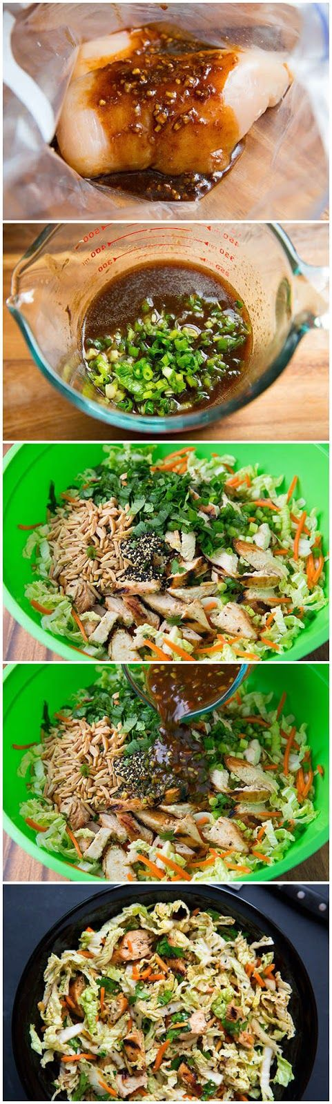 Ingredients   Dressing and Marinade  1/4 c low-sodium soy sauce  2 Tbsp finely minced ginger  3 Tbsp canola oil  2 Tbsp hoisin sauce  1 Tb...