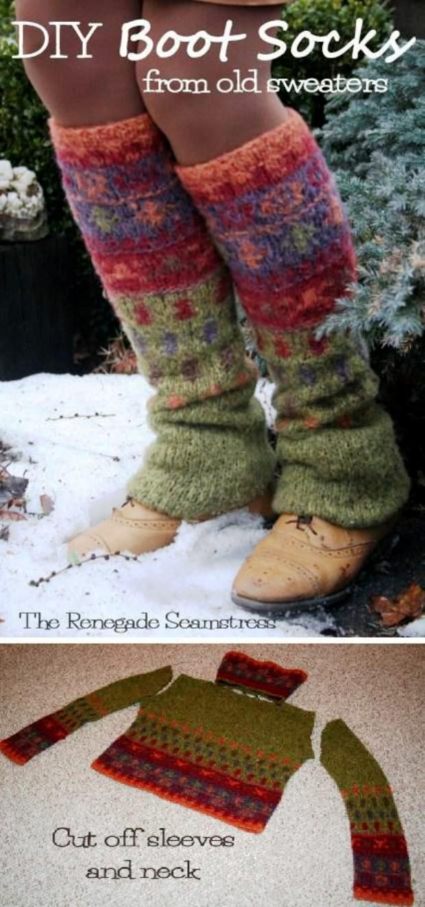 Upcycled, No Sew Leg Warmers From an Old Thrift Store Sweater