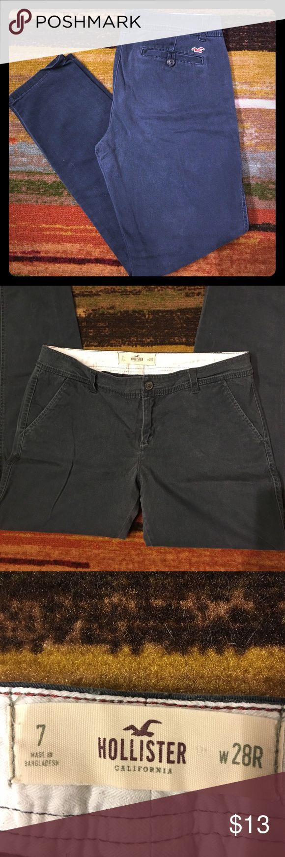 Hollister pants Navy blue hollister pants, no stains, holes or rips, all belt loops attached Hollister Pants Trousers