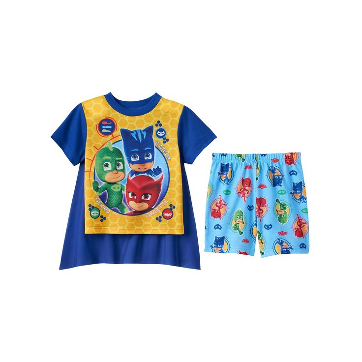 Toddler Boy PJ Masks Catboy, Gekko & Owlette 3-pc. Cape Pajama Set, Size: 2T, Multicolor