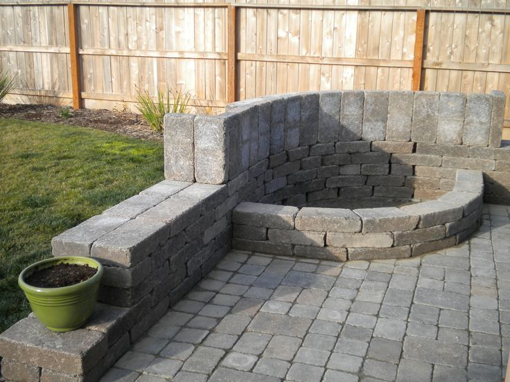 our patio fire pit with benches all around