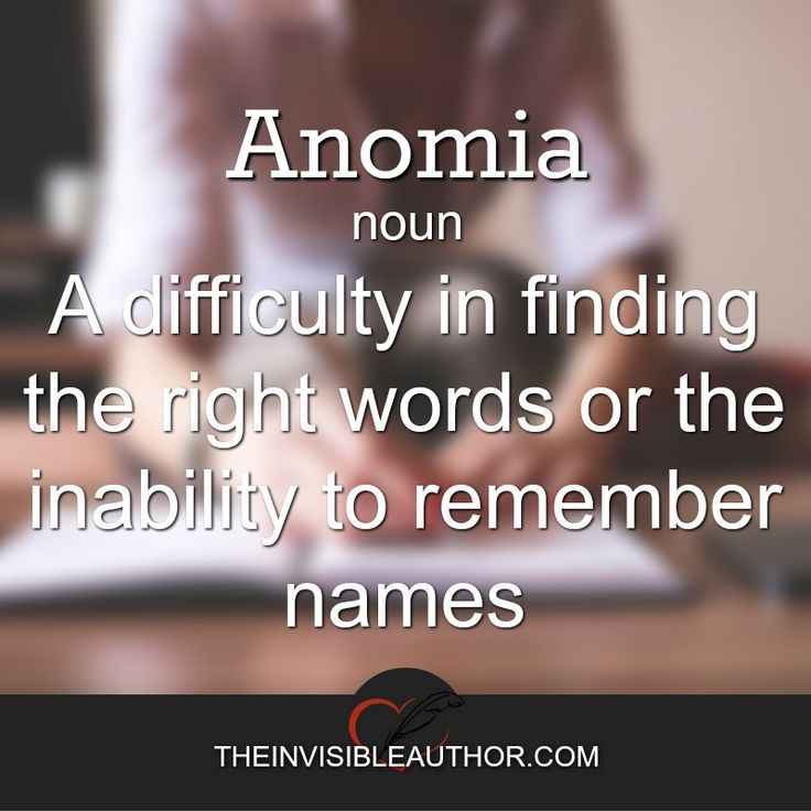 Anomia: A difficulty in finding the right words or the inability to remember names.