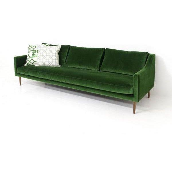 Naples Sofa in Emerald Green Velvet (€2.590) ❤ liked on Polyvore featuring home, furniture, sofas, velvet couch, velvet sofa, emerald green furniture, emerald green sofa and velvet furniture