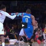 Russell Westbrook goes coast to coast for the filthy slam vs Lakers