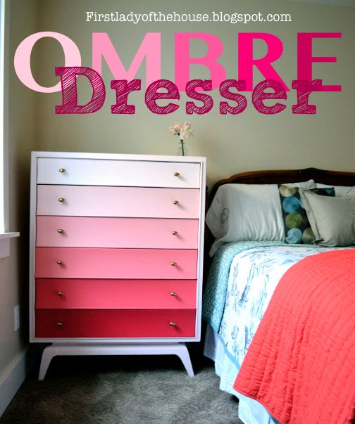 Ombre Dresser! This is a fun was to add color if you can't paint walls!!!