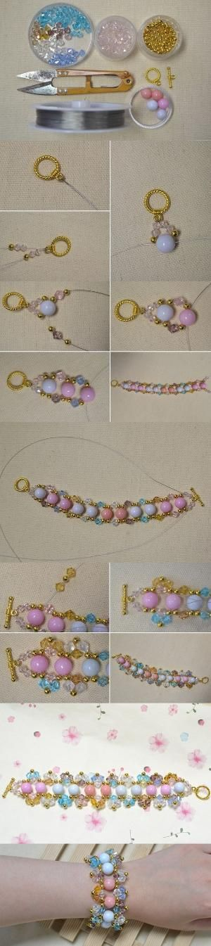 Easy Colorful Beaded Bracelet Making Tutorial from LC.Pandahall.com #pandahall   Jewelry Making Tutorials & Tips 2   Pinterest by Jersica