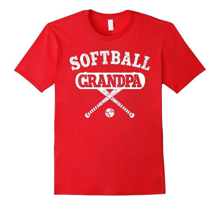 Men's Softball Grandpa Shirt: Proud Grandfather Of Player T-Shirt