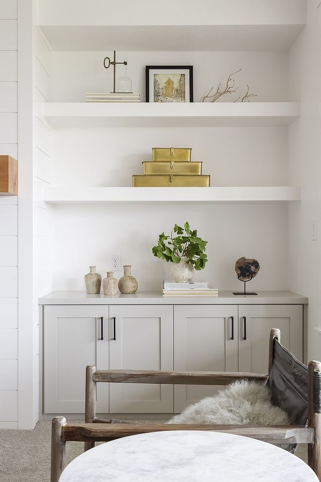 Fireplace Is Flanked By Cabinets In Sherwin Williams Sw 7016 Mindful Gray And C Built In Shelves Living Room Floating Shelves Living Room Living Room Shelves