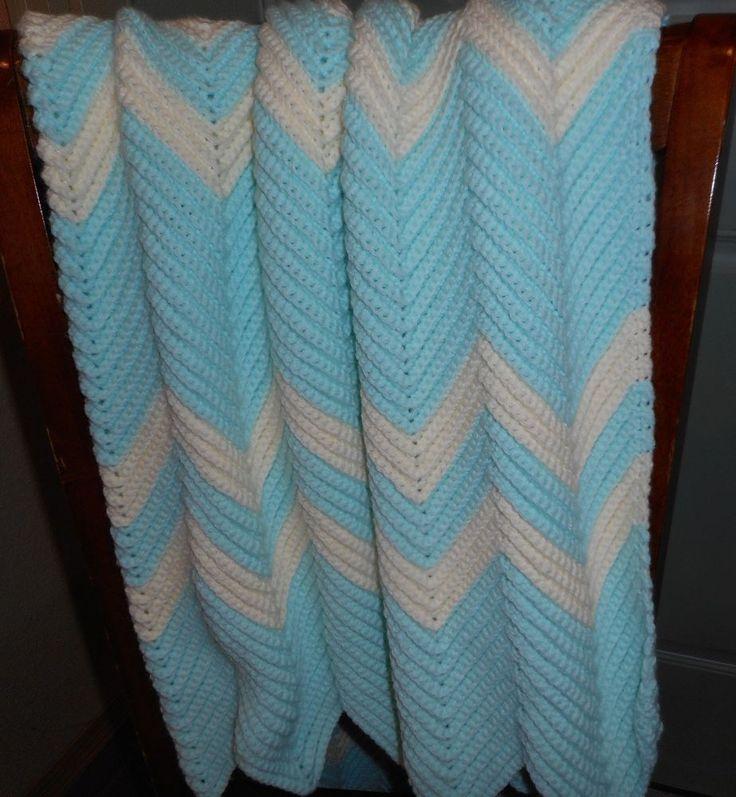 Handmade Crochet Knit Baby Blanket Afghan Chevron Ripple Heirloom Quality #Handmade