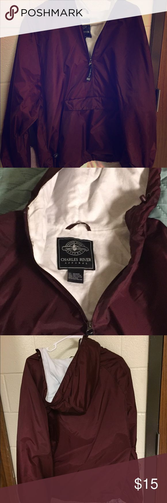 Windbreaker / Rain jacket It's a medium, but a big medium - good for layering! I used it in this way to go to a Redskins game in the winter. Plenty of room, large front pocket. Nice color. Charles River Jackets & Coats Utility Jackets