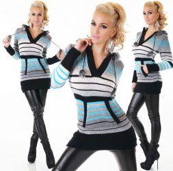 Türkiz/fekete vastag kötött pulóver