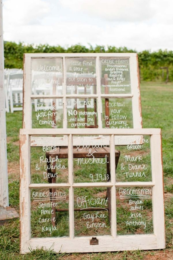DIY Wedding // window pane signs for the ceremony!  This would be awesome for any party/event too.
