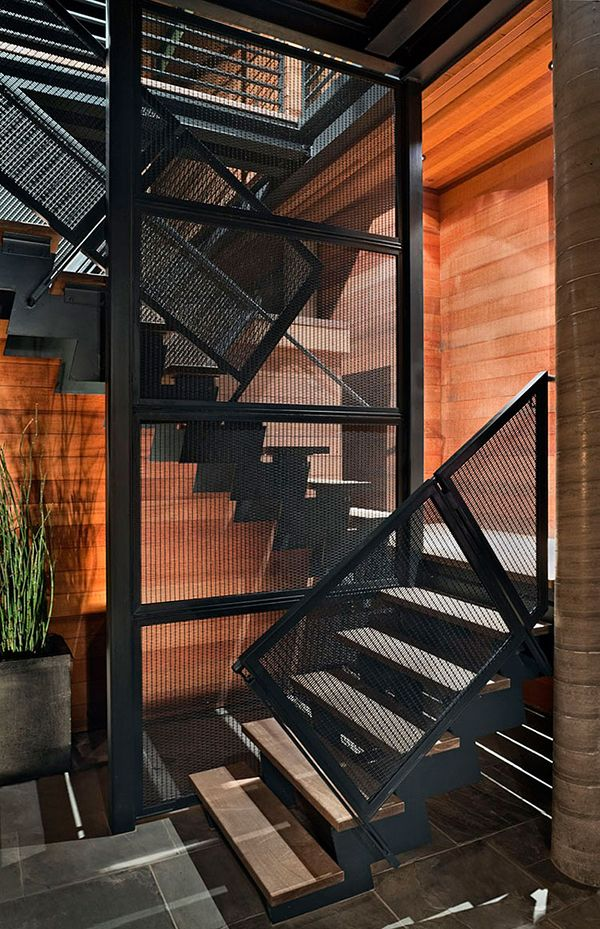 Architecture, Black Color Wire Mesh Railing Stairs Modern House Design With  Wood Wall Cladding Ideas: The Amazing Flood Proof House In Stinson Beach ...