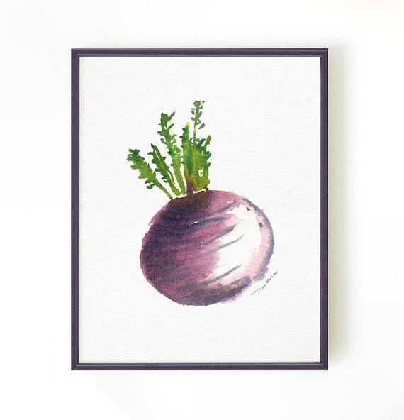 Arte in cucina, rapa pittura ad acquerello, arte verdura, ortaggi a radice, botanico stampa, arte della parete cucina, viola, Buy 2 Get 1 Free
