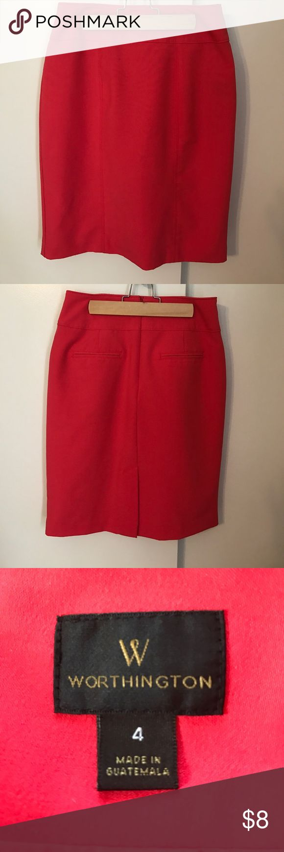Coral Pencil Skirt Pencil skirt in coral. Two fake pockets in the back, zipped up middle back. Worthington Skirts Pencil