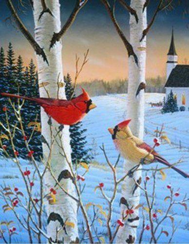 Winter Cardinal Garden Flag Birch Sam Timm