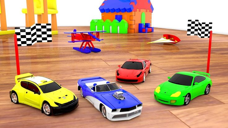Racing Cars around the House - Kids Toys Fun Play Vehicles Colors Kinder...