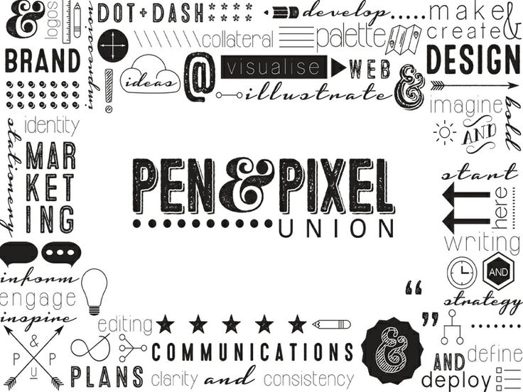 Black and white logo and branding design for Pen & Pixel Union, a creative studio specialising in brand, communications and design.