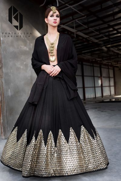 Light Lehengas - Black Lehenga with Silver Gotta Border | WedMeGood #wedmegood #indianbride #lehenga #black #gota #indianlehenga #indianwedding #skirt