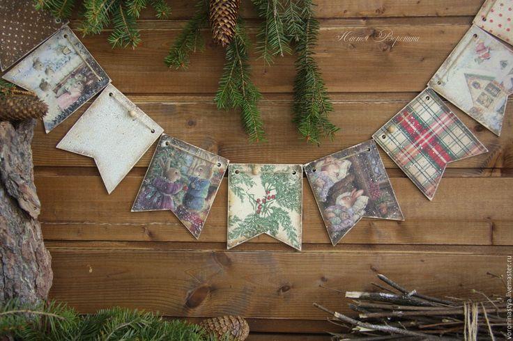 Купить Флажки Старая сказка - разноцветный, Новый Год, рождество, гирлянда, флажки, Декупаж, сказка
