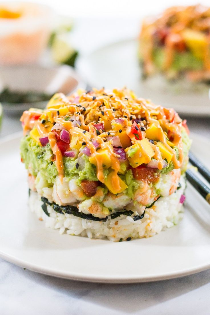 Spicy Shrimp Stacks - like a giant deconstructed California roll with bang bang sauce!