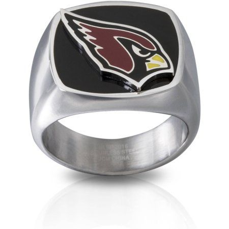 Stainless Steel Licensed NLF Arizona Cardinals Logo Ring