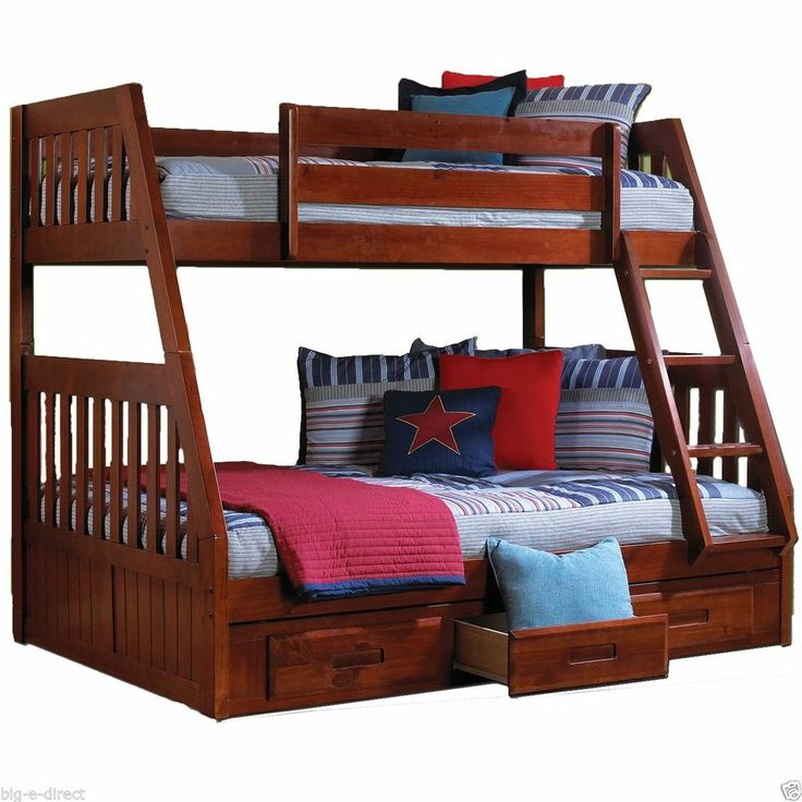 Lovely NEW MERLOT KIDS TWIN OVER FULL SIZE SOLID WOOD BUNK BEDS FRAME STORAGE DRAWERS Style - Minimalist solid bunk beds Amazing