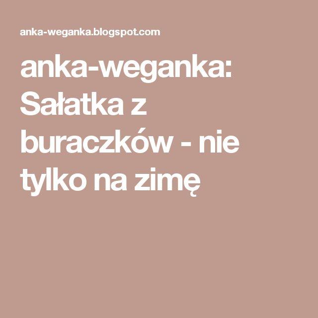 anka-weganka: Sałatka z buraczków - nie tylko na zimę