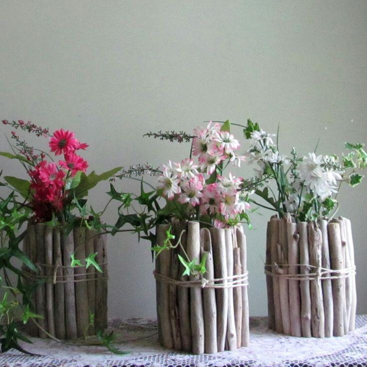 Round driftwood vase driftwood centerpiece wedding for Driftwood centerpiece