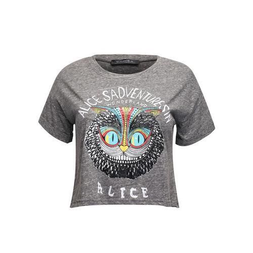 Gray Owl and Letter Print Crop Tee D902-CTYP0027