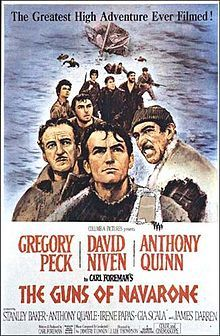 The Guns of Navarone is a 1961 British-American Action/Adventure war film directed by J. Lee Thompson and based on Alistair MacLean's 1957 novel The Guns of Navarone about the Dodecanese Campaign of World War II. It stars Gregory Peck, James Robertson Justice, David Niven and Anthony Quinn, along with Anthony Quayle, and Stanley Baker.