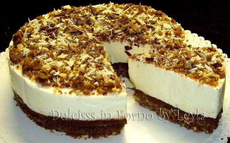 Torta+allo+yogurt+senza+forno+con+nocciole+e+nutella