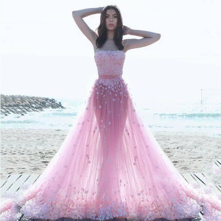 2016 Beautiful Pink Two Pieces Prom Dresses 3d Floral Appliques Sexy Strapless A Line Floor Length Tulle Arabic Evening Party Gowns Petite Prom Dresses Uk Pink Prom Dresses Uk From Dmronline, $127.34| Dhgate.Com