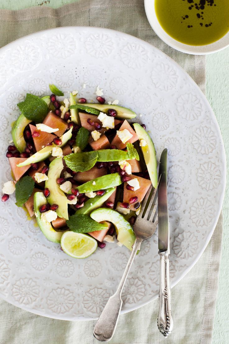Avocado, Watermelon, Pomegranate and Feta Salad By Nadia Lim