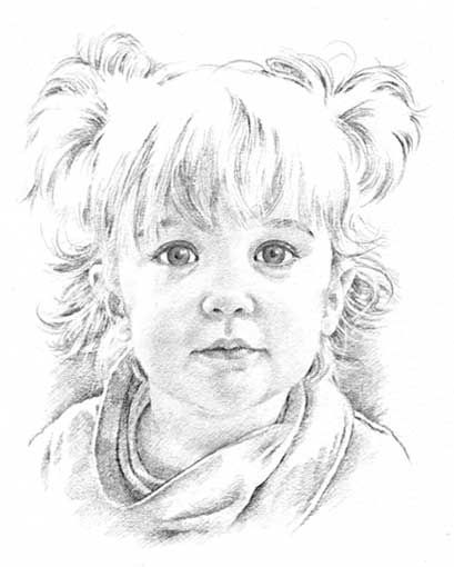 Child pencil portrait drawing by Margaret Scanlan