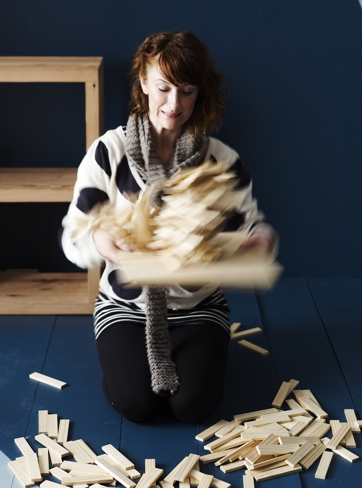 Our style editor @Vanessa Colyer Tay making a playful mess while working on the 'Homewares Trend' story in our new September/October 2012 issue of Inside Out magazine. Photo by Lisa Cohen.