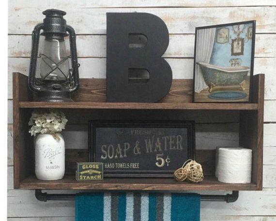 Badkamer plank eenheid badkamer handdoek rek, home decor, badkamer opslag, organisator van de opslag van de badkamer, badkamer muur plank