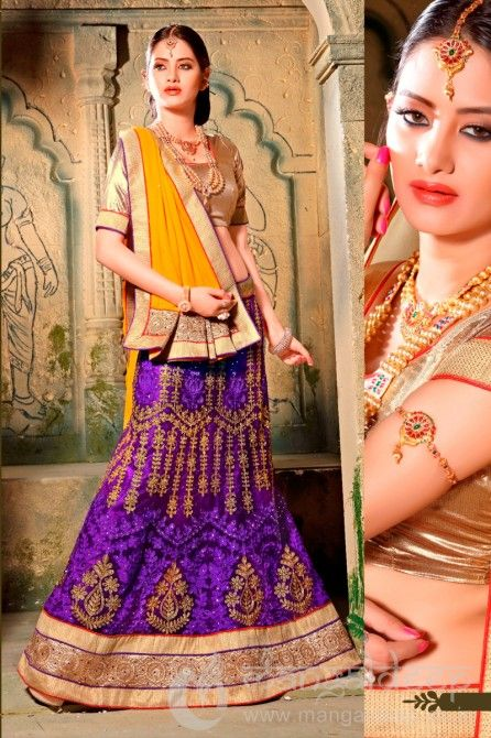 Violet Net Party wear designer lehenga Choli. For more information :- Call us @+919377222211 (Whatsapp Available)