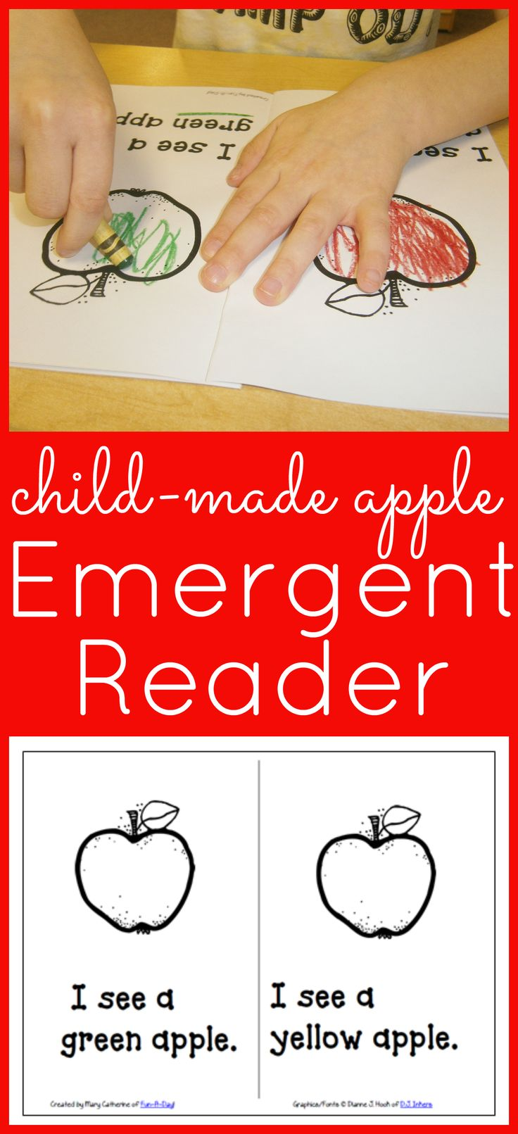 Apple Emergent Reader for Preschoolers from www.fun-a-day.com -- A simple book about apple colors. It has repetitive text and pictures the children color along the way. Includes a link to a free printable.