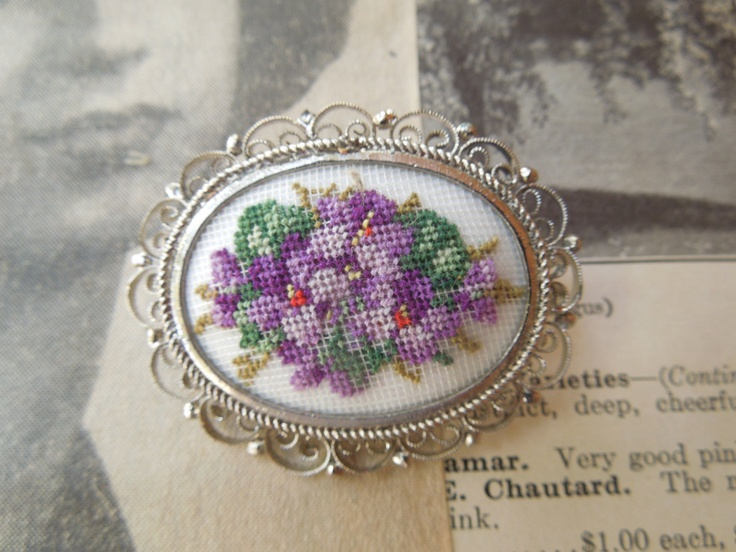 Vintage Petit Point handmade in Austria Brooch Pin Pansy Violets. via Etsy.