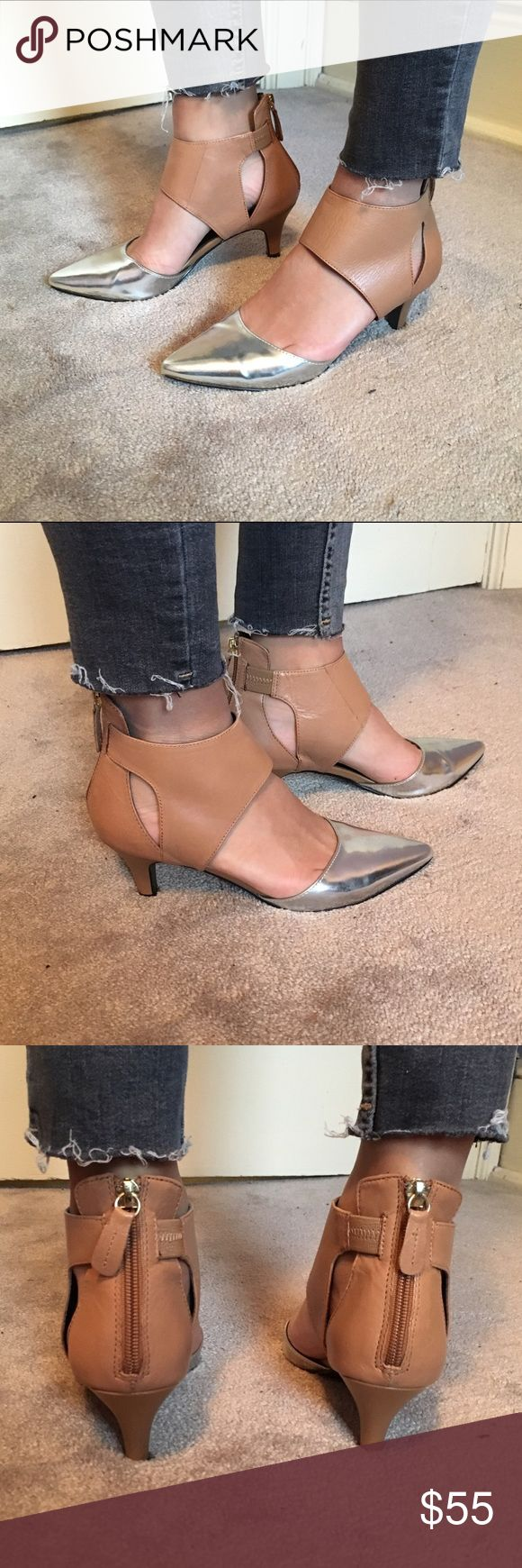 Kelsi Dagger silver & nude deede heel worn once. great condition! heel is about 2 inches. Kelsi Dagger Shoes Heels