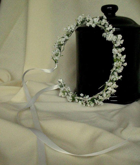 White Wedding Day hair accessories Flower Crown silk Babys Breath halo Bridal headpiece wreath garland handmade Blessingway Handfast
