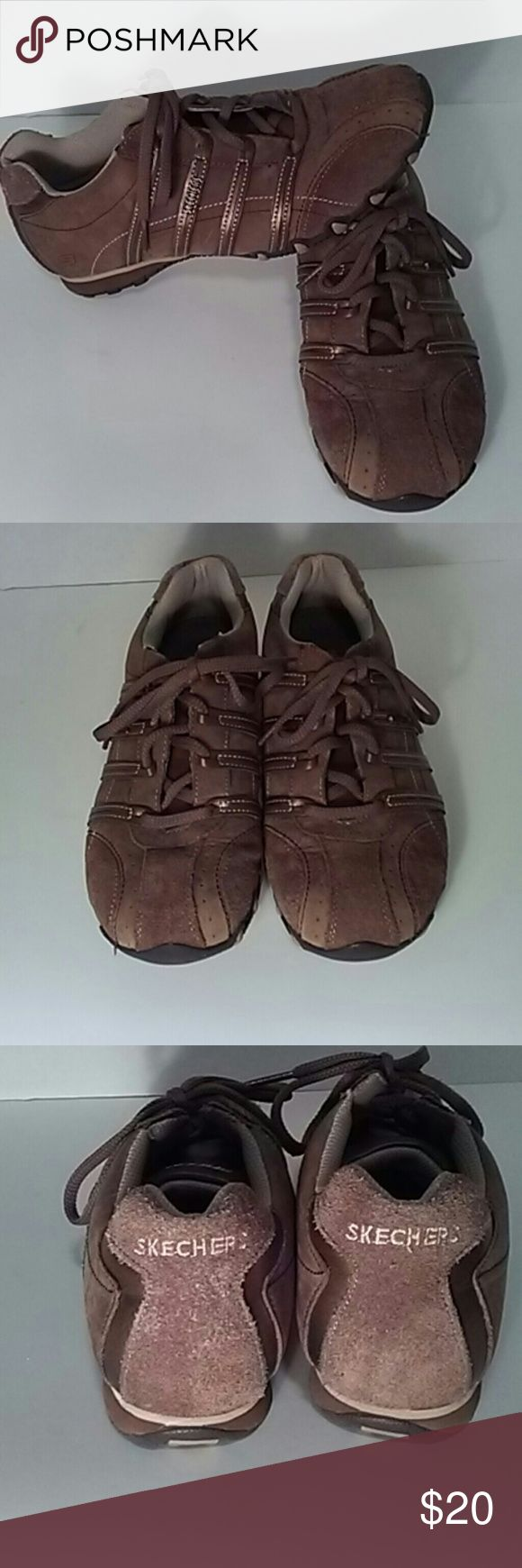 Sz 7 Skechers Patroller Walking Shoes Gently used brown Sketchers. In excellent condition! Skechers designs yet another cool sport-fusion sneaker to fit seamlessly into your life. Lace up the Patroler with your favorite casual outfits get out there and have a blast!Leather and suede upper with cooling perforations stitching and metallic detail! Skechers Shoes Athletic Shoes