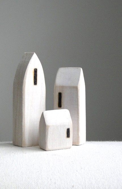 miniature houses small white wood town set by saysthetree on Etsy
