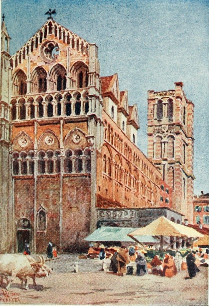 The Cathedral, Ferrara. Watercolour by William Wiehe Collins (1862-1951) http://www.universalcompendium.com/gen_images/ucg/collins%20ww/italian-cities/ferrara-william-wiehe-collins-watercolour-painting-italy-cities-cathedral.htm