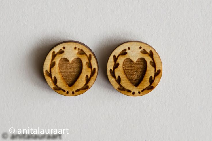 Wooden Earrings - hand drawn laser cuts  Also come as: Pins, buttons, magnets