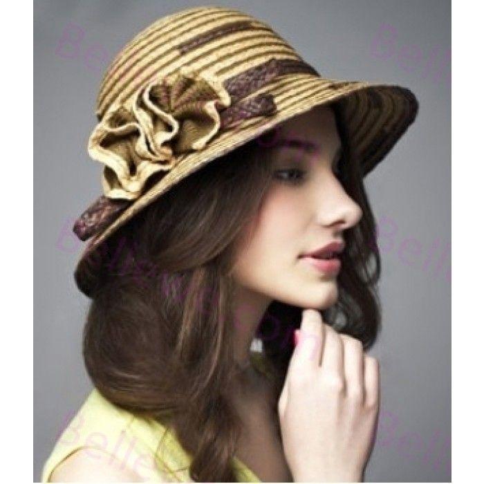 Chapeau capeline herbe tissage femme champagne bande fleur dome beau leger
