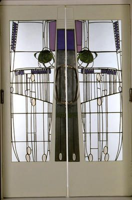 Charles Rennie Mackintosh (1868-1928) - The Willow Tea Room's Double Doors. Wood and Leaded Glass. Glasgow, Scotland. Circa 1904.