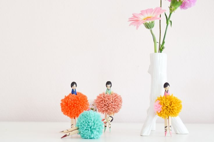 DIY clothespin pompom ballerina